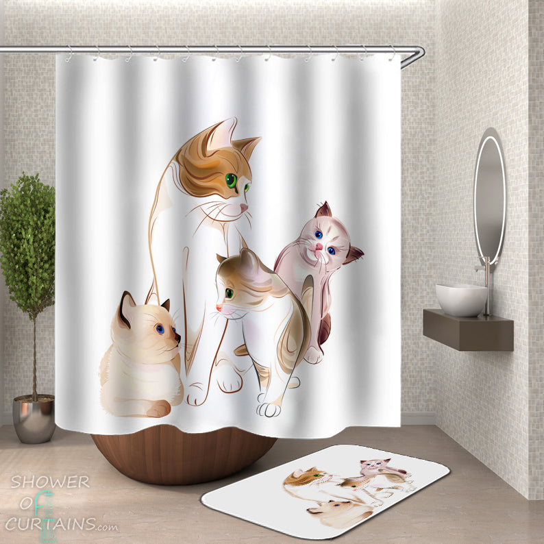 Cat Shower Curtain - Adorable Cats Painting