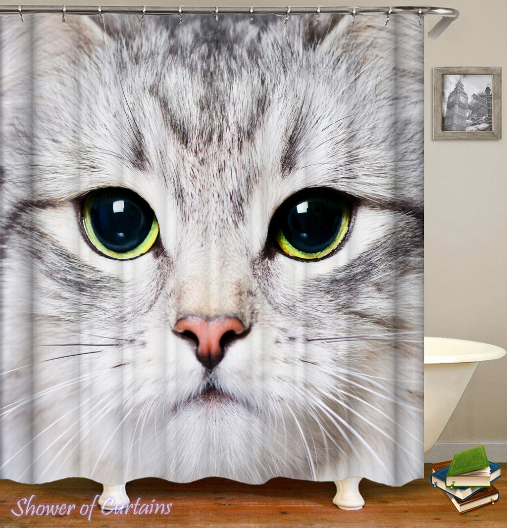 Cat Shower Curtain Features Grey Cat Face
