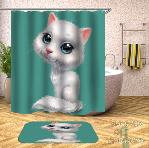 Cat Shower Curtain of Adorable Kitten Digital Painting