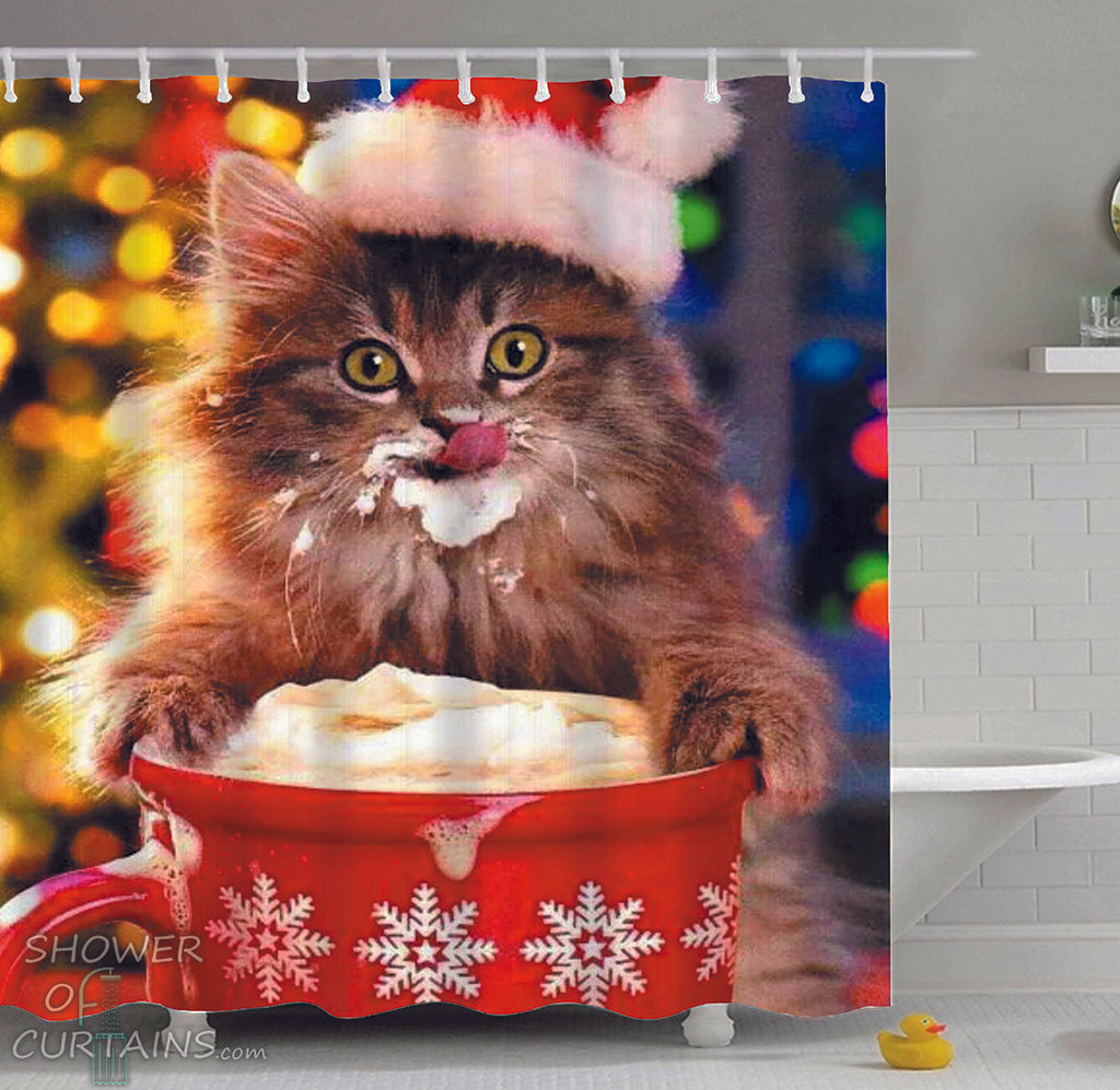 Cat Shower Curtain of Cat Licking Hot Chocolate whipped Cream
