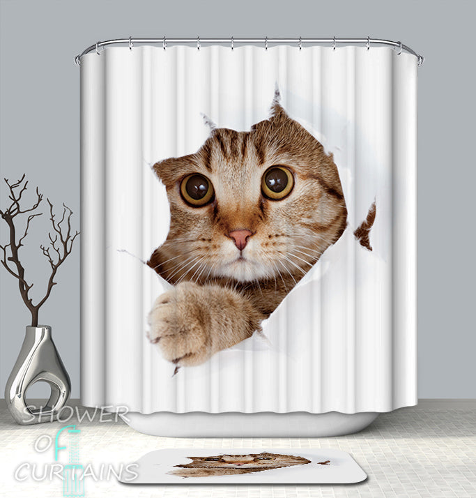 cat shower curtain of cat says hello - Cat Curtains