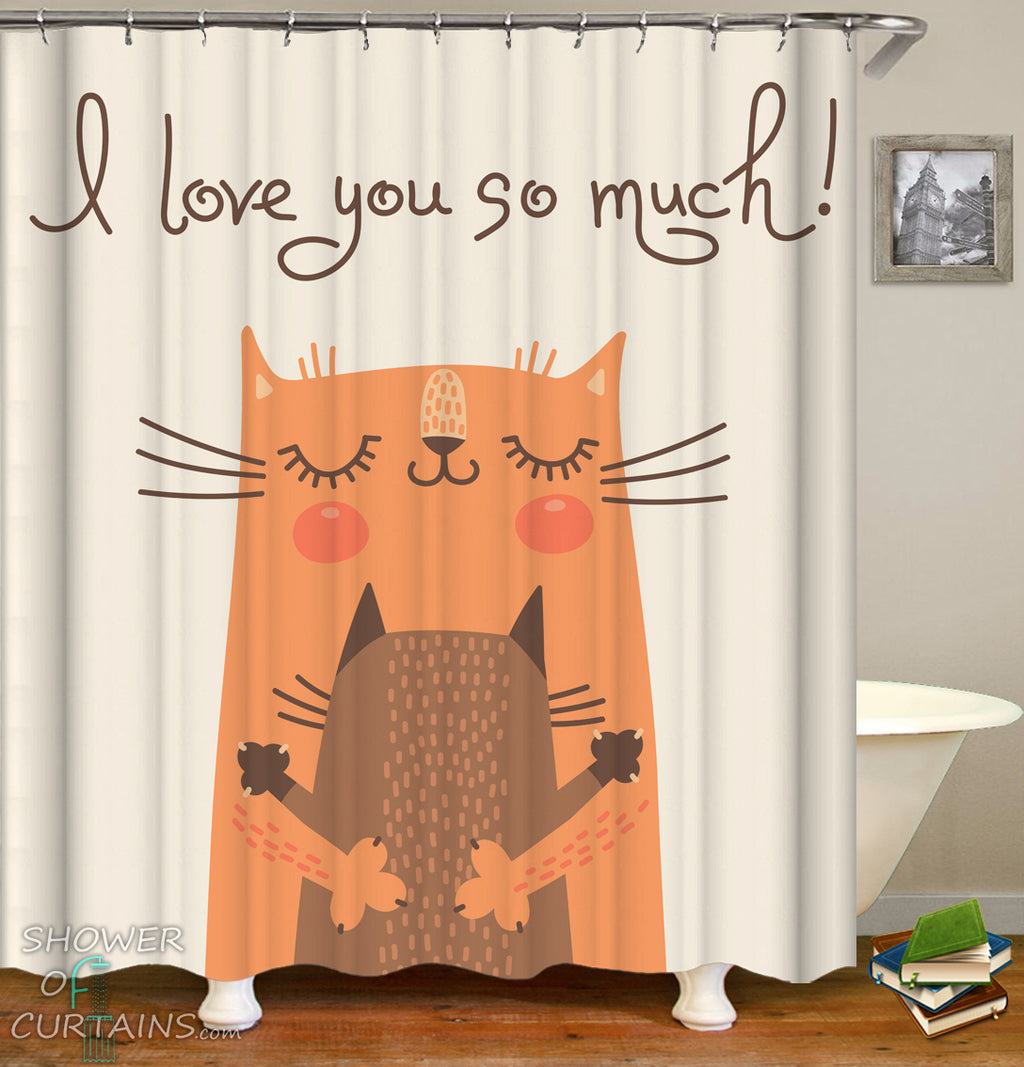 Cat Shower Curtain of Cats Hug - Cute Shower Curtains