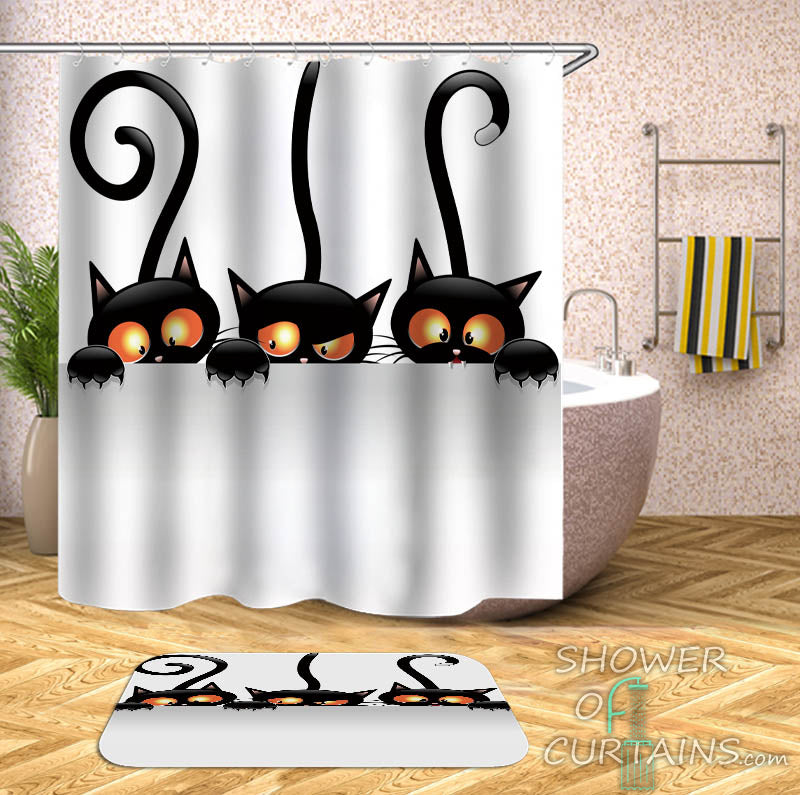Cat Shower Curtain of Three Suspicious Cats - Black And White Bathroom Decor