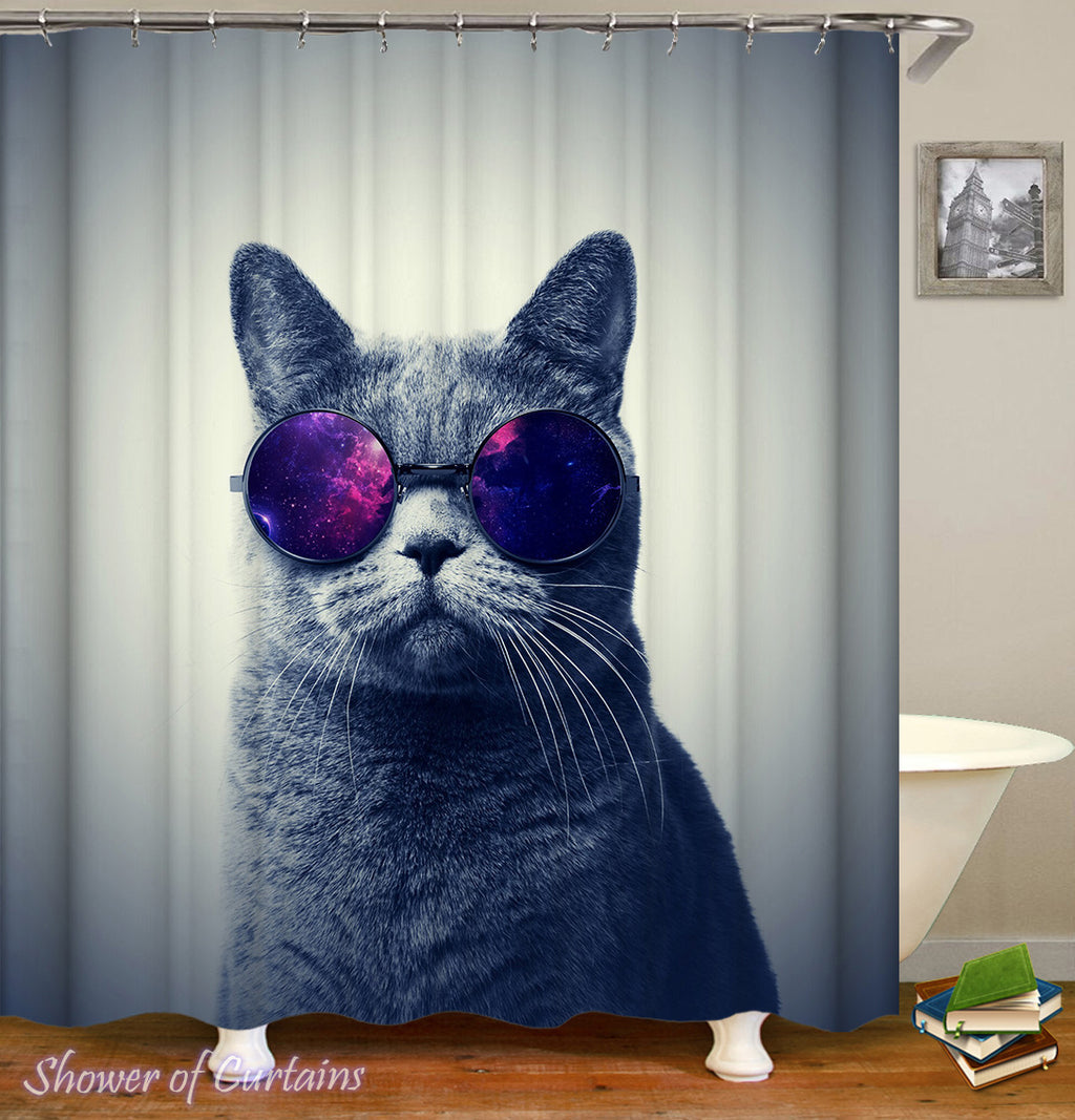 Cat Shower Curtains of Space Glasses Cat #2
