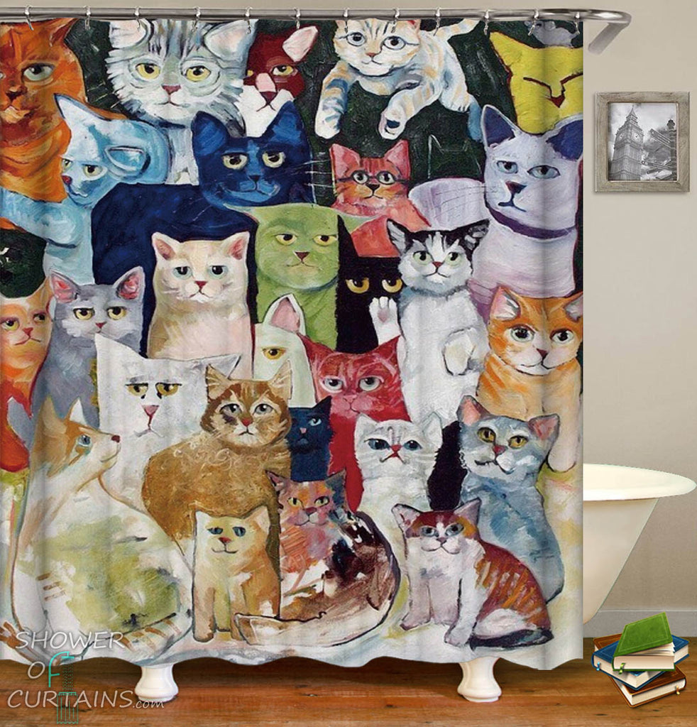 Cats Shower Curtain - Colorful Art
