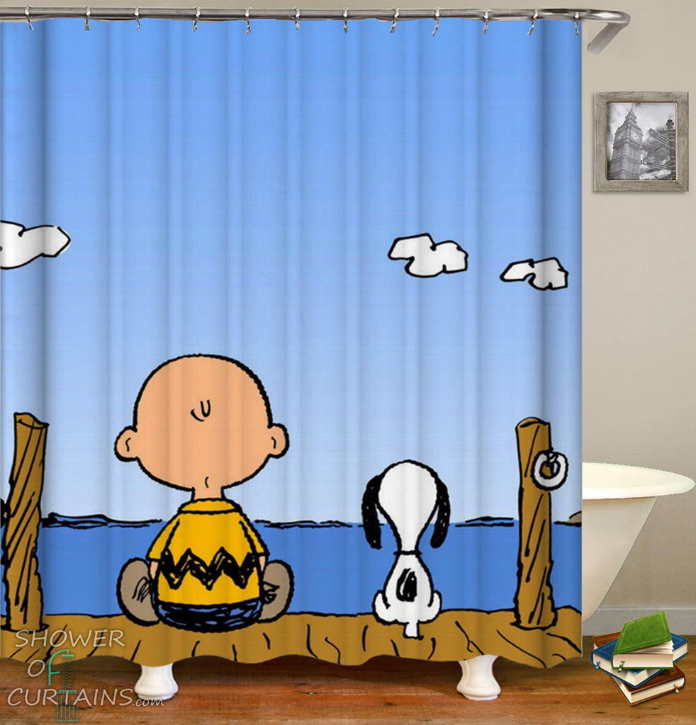 Charlie Brown And Snoopy Shower Curtain