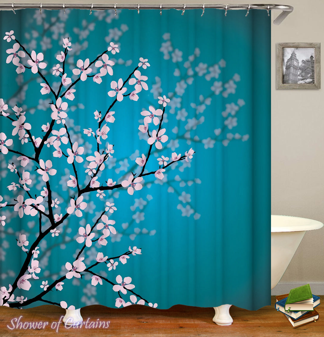 Shower Curtains | Cherry Blossom Over The Turquoise – Shower of Curtains