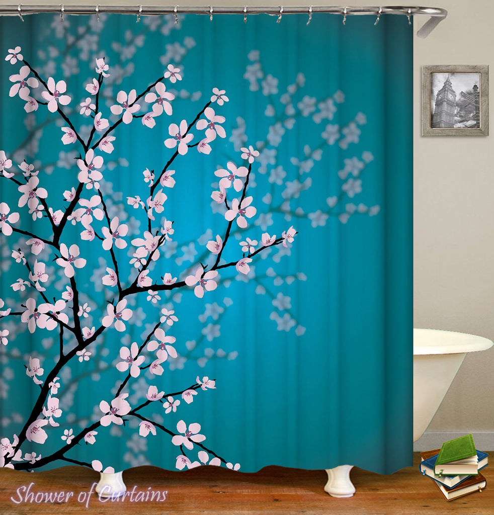 Cherry Blossom shower curtain- Cherry Blossom Over The Turquoise