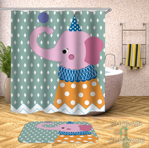 Childish Elephant Character Kids Shower Curtains
