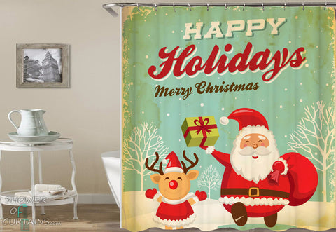 Christams Shower Curtains - Christmas Vintage Tin Plate