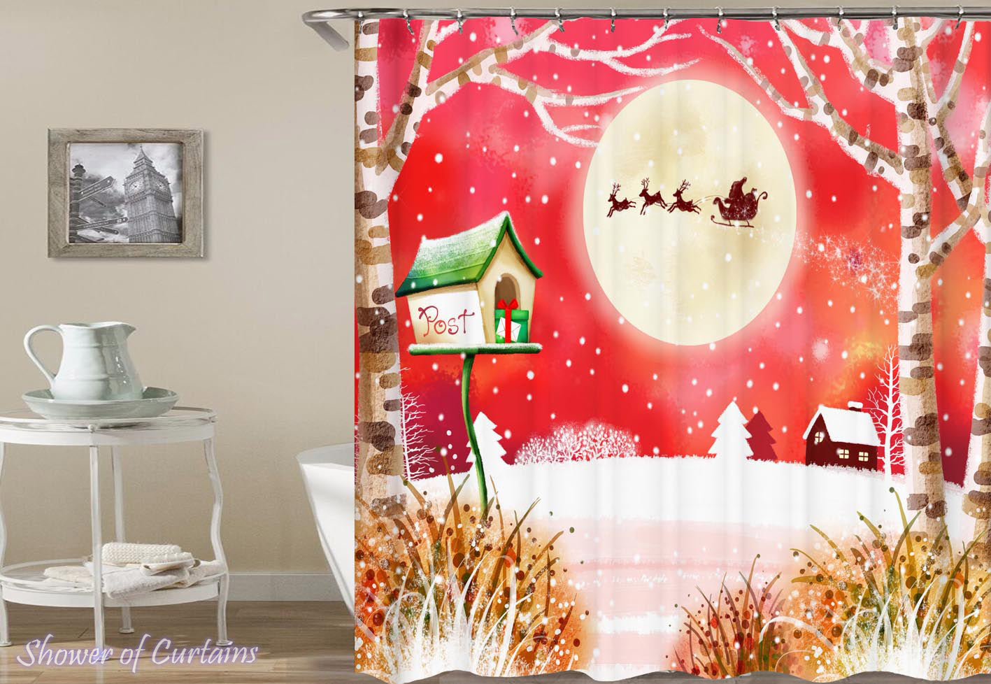 ChristmasThemed Shower Curtains Of Rustic Christmas Painting