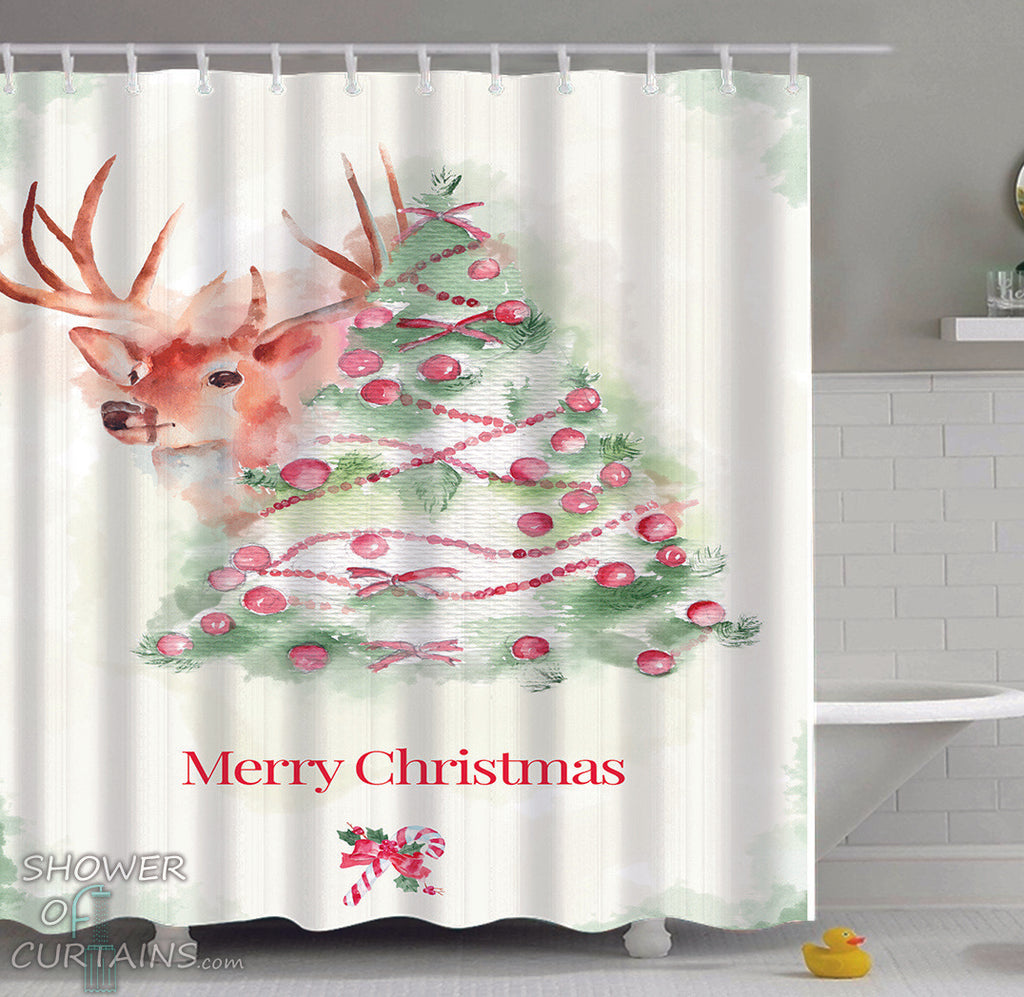Christmas Art Shower Curtain of Reindeer Merry Christmas Art Painting