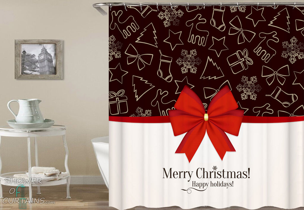 Christmas Bathroom Decor - Christmas Shower Ribbon - Shower Curtains Holiday