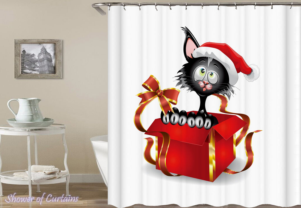 Christmas Cat Shower Curtain of Santa's Cat In A Gift Box