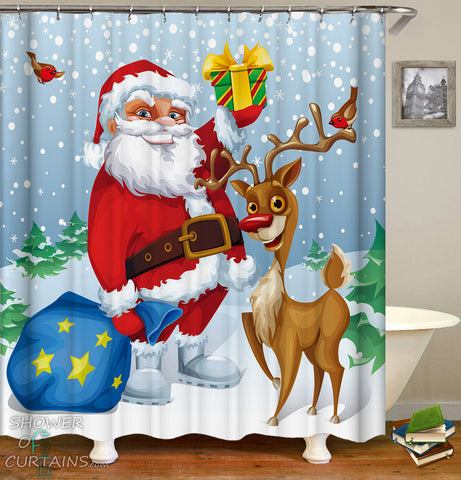 Christmas Design of Smiling Santa And His Reindeer Shower Curtain