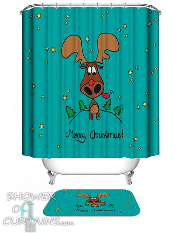 Christmas Moose Shower Curtain