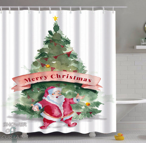 Christmas Shower Curtain Set of Santa Merry Christmas Art Painting - Art Shower Curtain