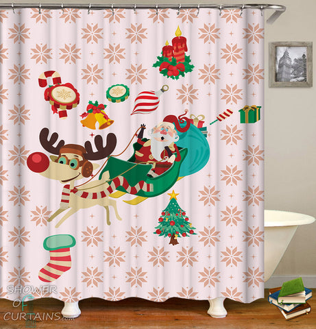 Christmas Shower Curtain of Christmas Icons