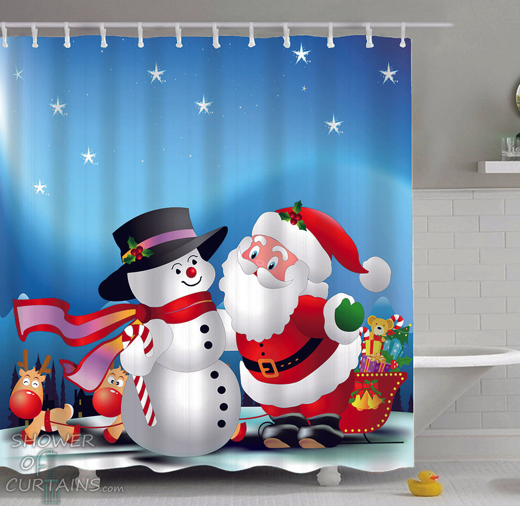 Christmas Shower Curtains - Christmas Cartoons