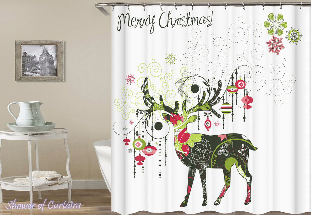 Christmas Shower Curtains - Merry Christmas Decorative Reindeer