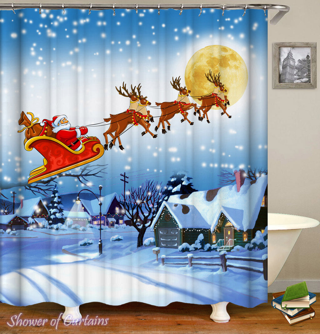Christmas Shower Curtains Feature Classic Christmas Scene
