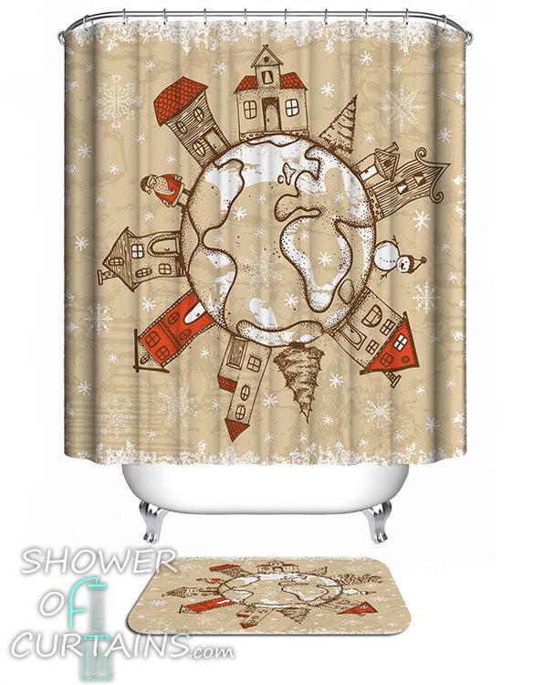 Christmas Shower Curtains of Christmas All Around The World
