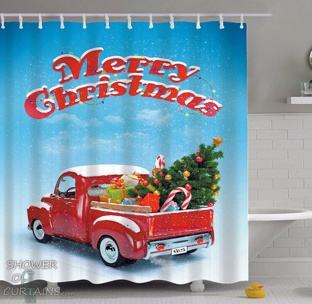 Christmas Shower Curtains of Christmas Truck
