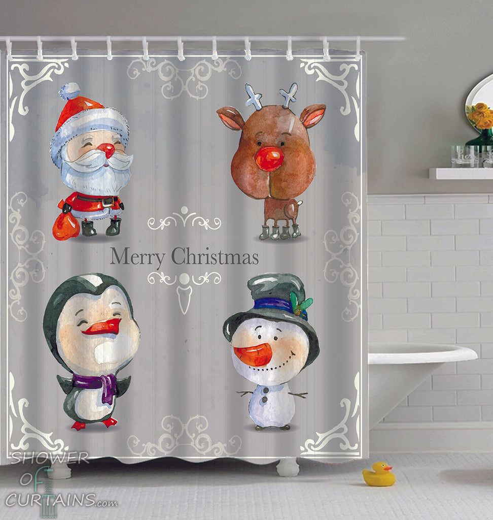 Christmas Shower Curtains of Christmas Vintage Cartoons