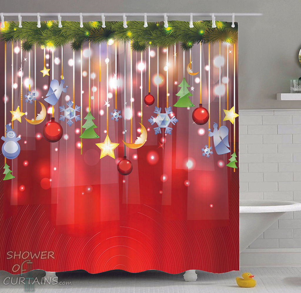 Christmas Shower Curtains of Christmas ornaments