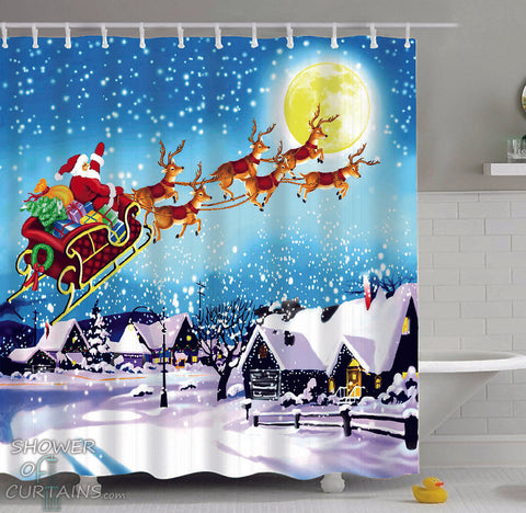 Christmas Shower Curtains of Classic Christmas Painting