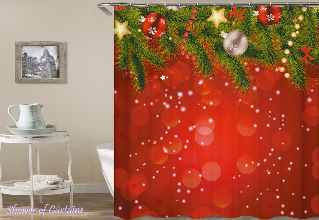 Christmas Shower Curtains of Classic Red With Christmas Ornaments