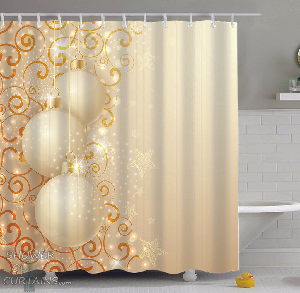 Christmas Shower Curtains of Cream Color Christmas Balls Ornaments