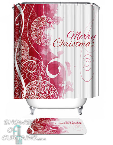 Christmas Shower Curtains of Elegant Merry Christmas