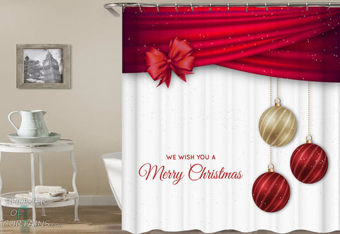 Christmas Shower Curtains of Gift Wrap And Christmas Bubbles
