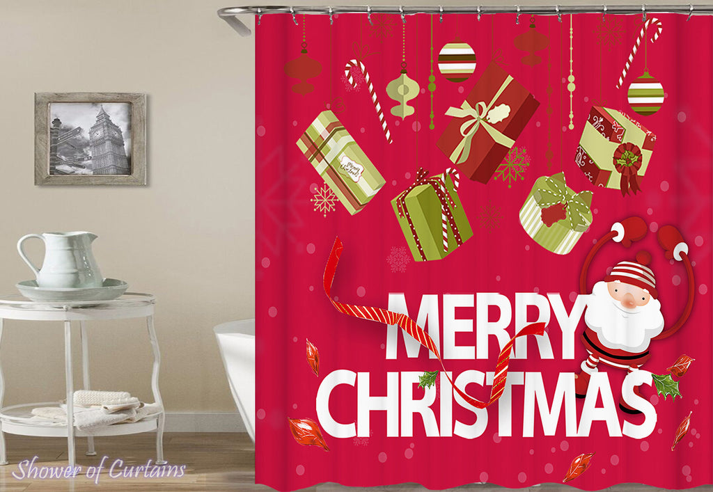 Christmas Shower Curtains of Merry Christmas Ornaments