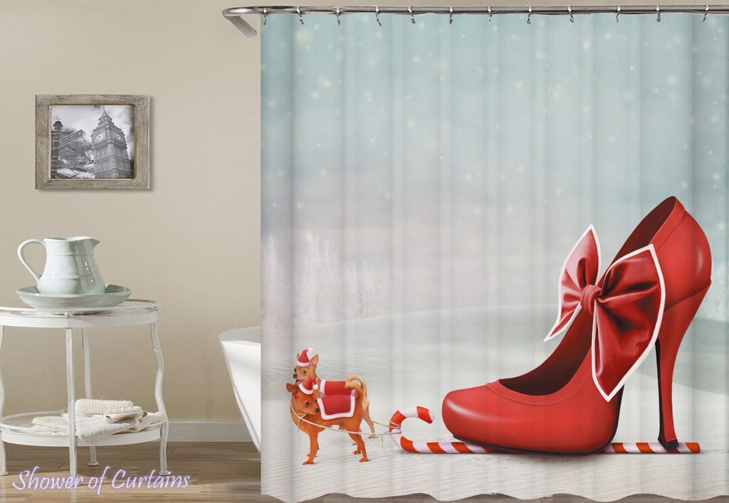 Christmas Shower Curtains of Mrs. Claus Sleigh