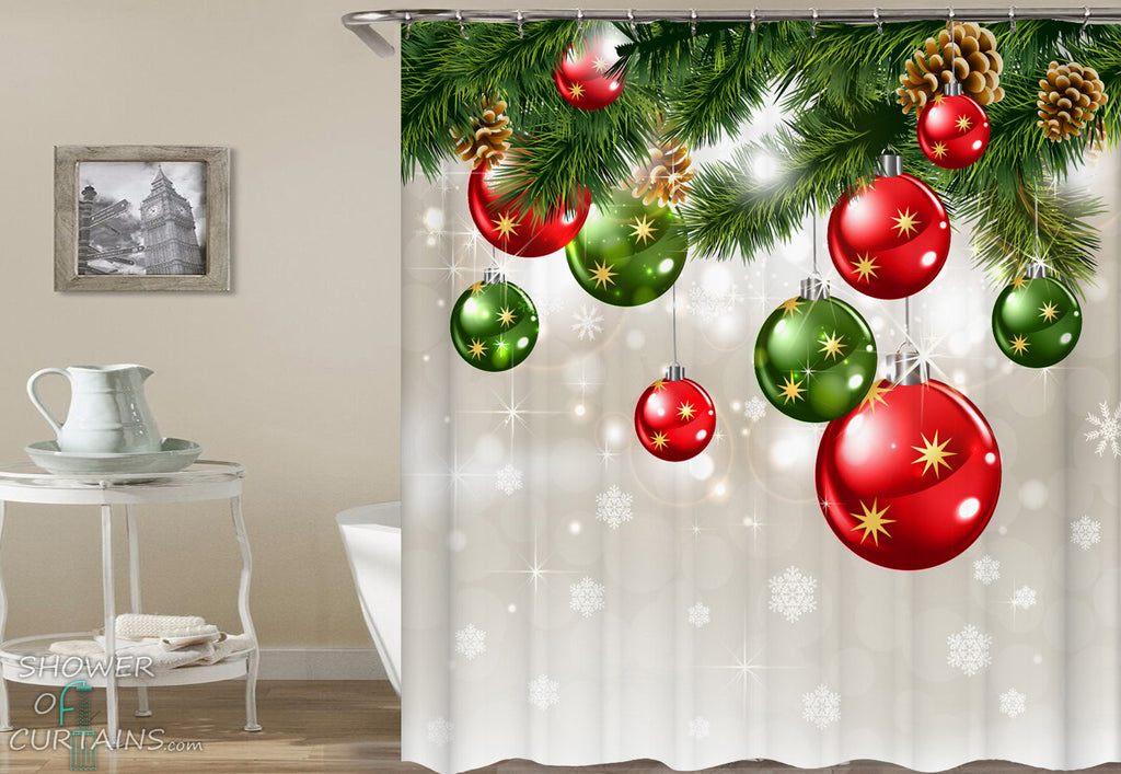 Christmas Shower Curtains Of Red And Green Ornaments