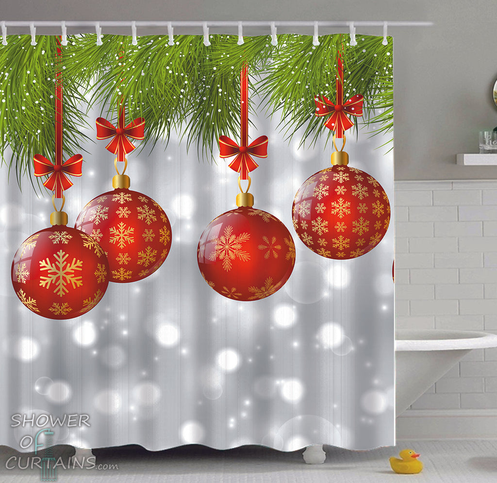 Christmas Shower Curtains of Red Christmas Baubles