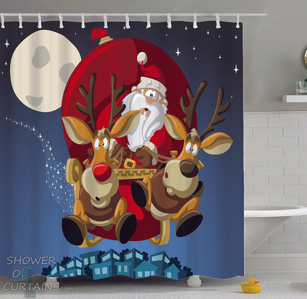 Christmas Shower Curtains Of Santa And Its Reindeer