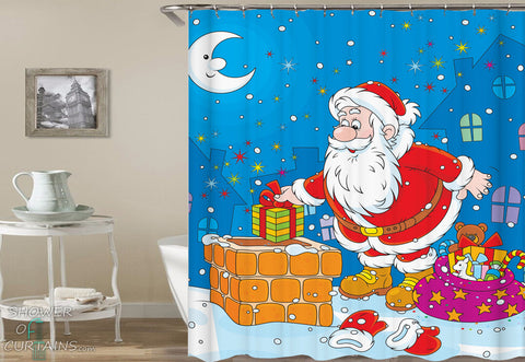 Christmas Shower Curtains of Santa Is Sneaking Presents
