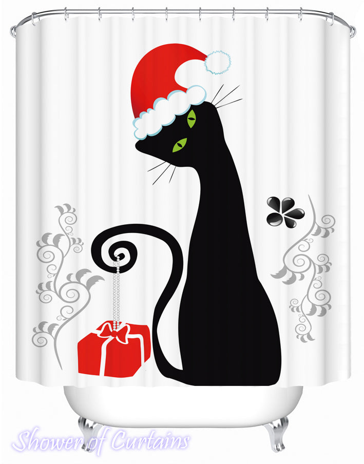 Christmas Shower Curtains of Santa's Black Cat