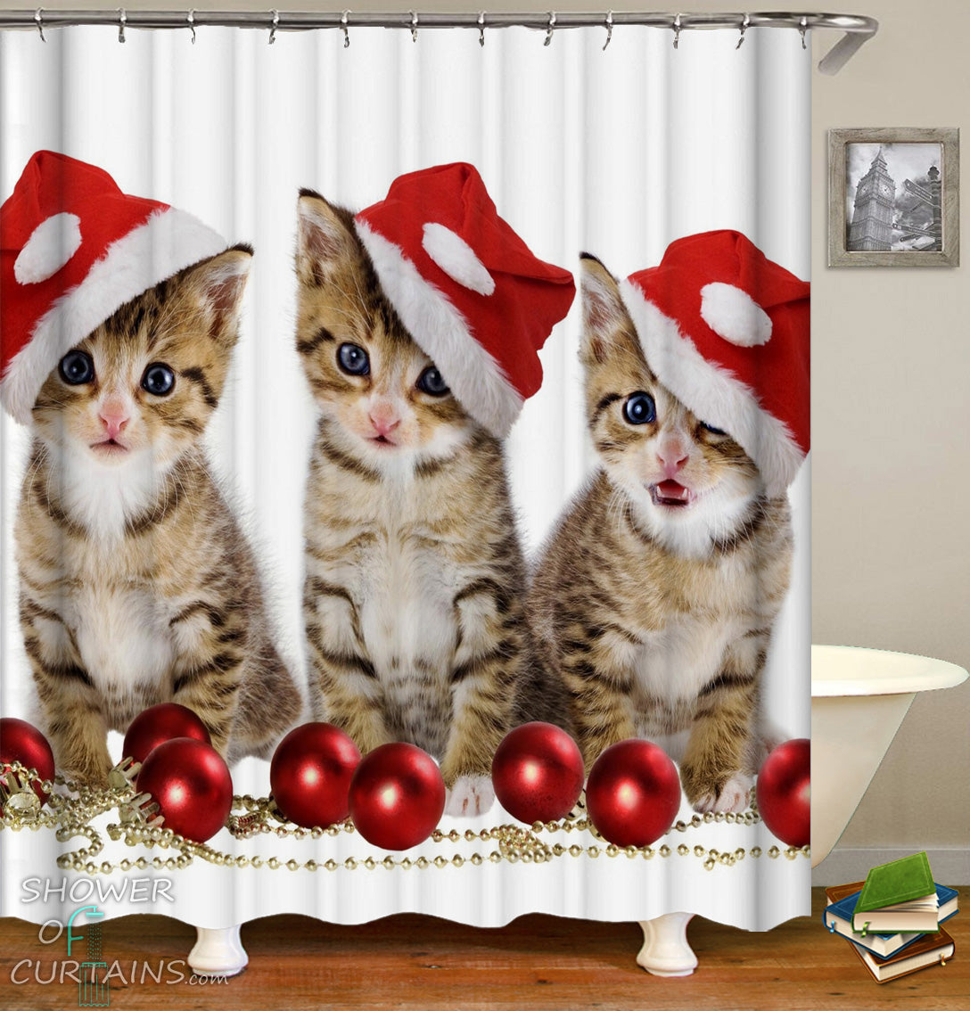 Christmas Shower Curtains Of Santas Kittens Curtain