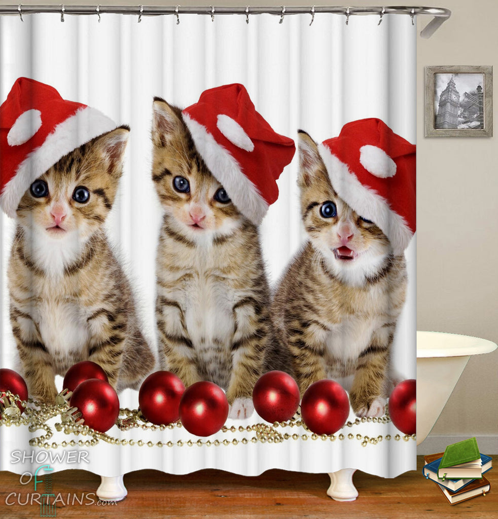 Christmas Shower Curtains of Santa's Kittens Shower Curtain