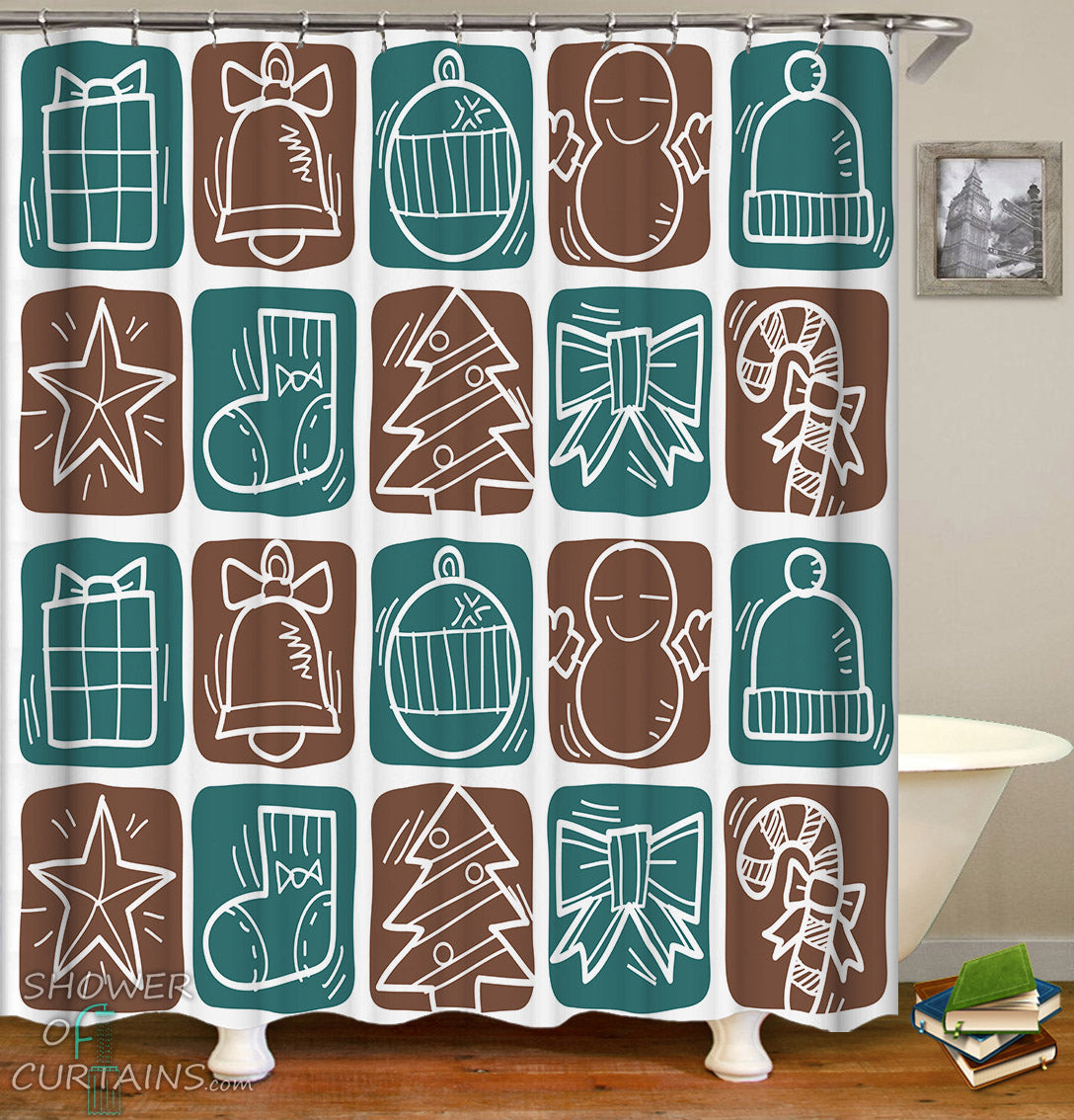 Christmas Shower Curtains Of Turquoise And Brown Checkers