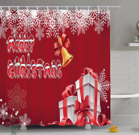 Christmas Shower Curtians - Merry Christmas Snowflakes