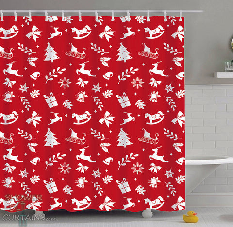 Christmas Themed Shower Curtains of Red Background Christmas Pattern