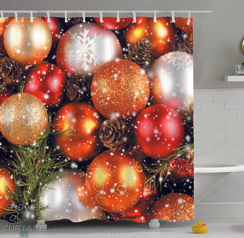 Christmas Themed Shower Curtains of shiny gold Christmas balls
