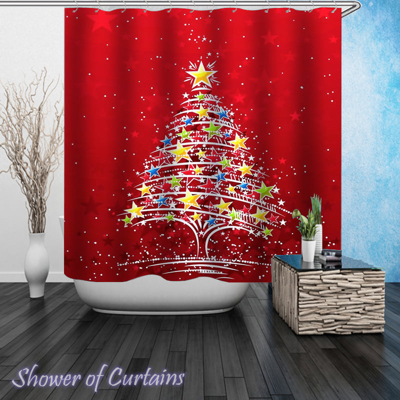 Christmas Tree Shower Curtain of Stars Christmas Tree