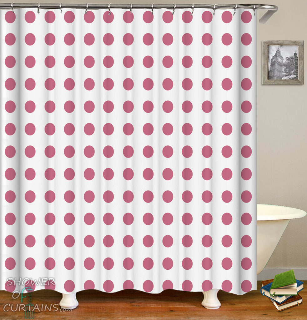 Classic Polka Dot Shower Curtain - Pinkish Red Polka Dot Bathroom Decor