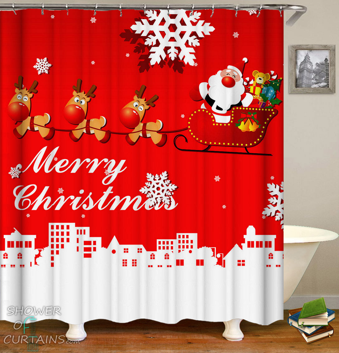 Classic Red Merry Christmas Shower Curtain